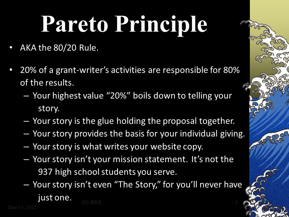 CC-RWR3 Pareto Principle AKA the 80/20 Rule.