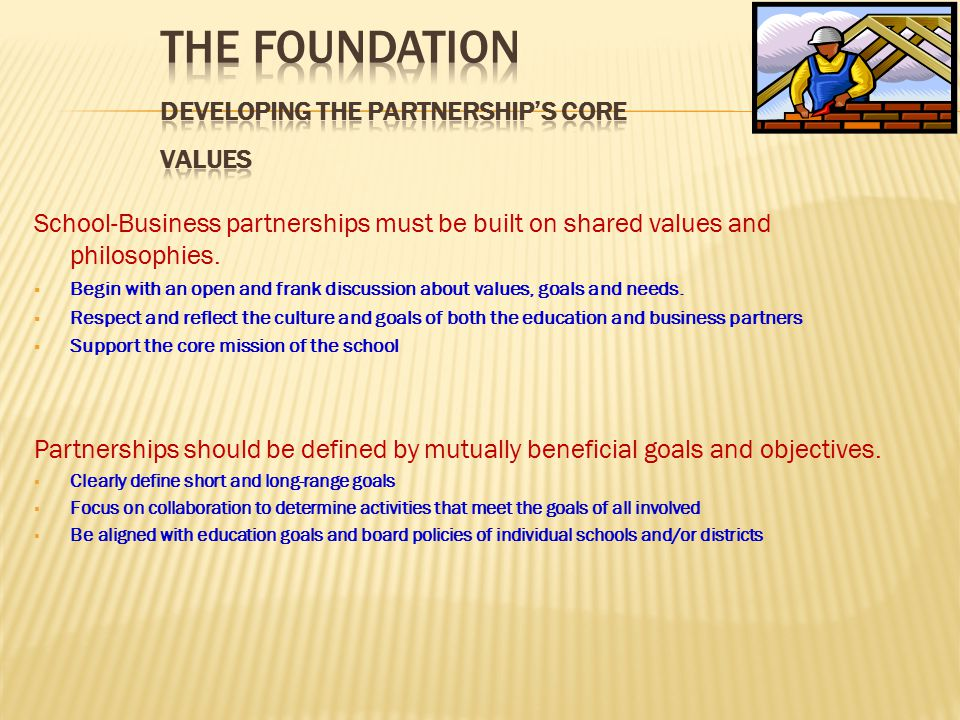 Partnership activities should be integrated into the school and business cultures.