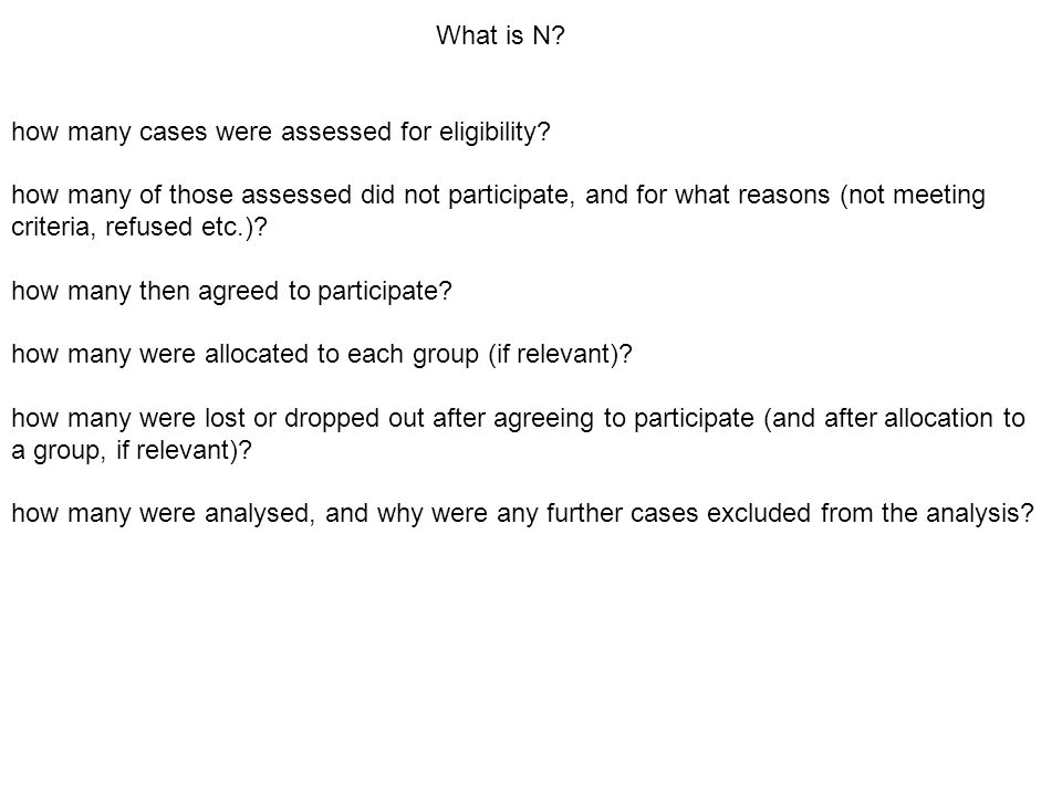 What is N. how many cases were assessed for eligibility.