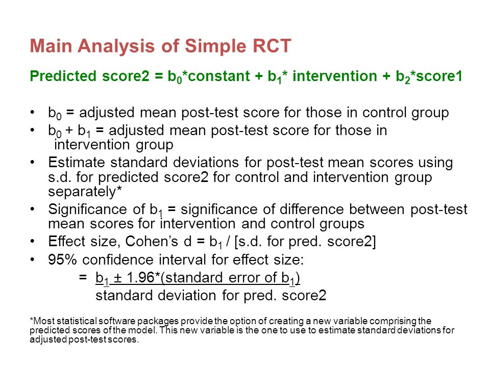 Example: Improvement index Take effect size and convert to Cohen's U3 index (either by using statistical tables of effect size calculators online) The improvement index represents the increase/decrease in the percentile rank for an average student in the intervention group (assuming at pre-test they are at the 50 th percentile) Effect size of 0.30  U3 of 62% i.e.