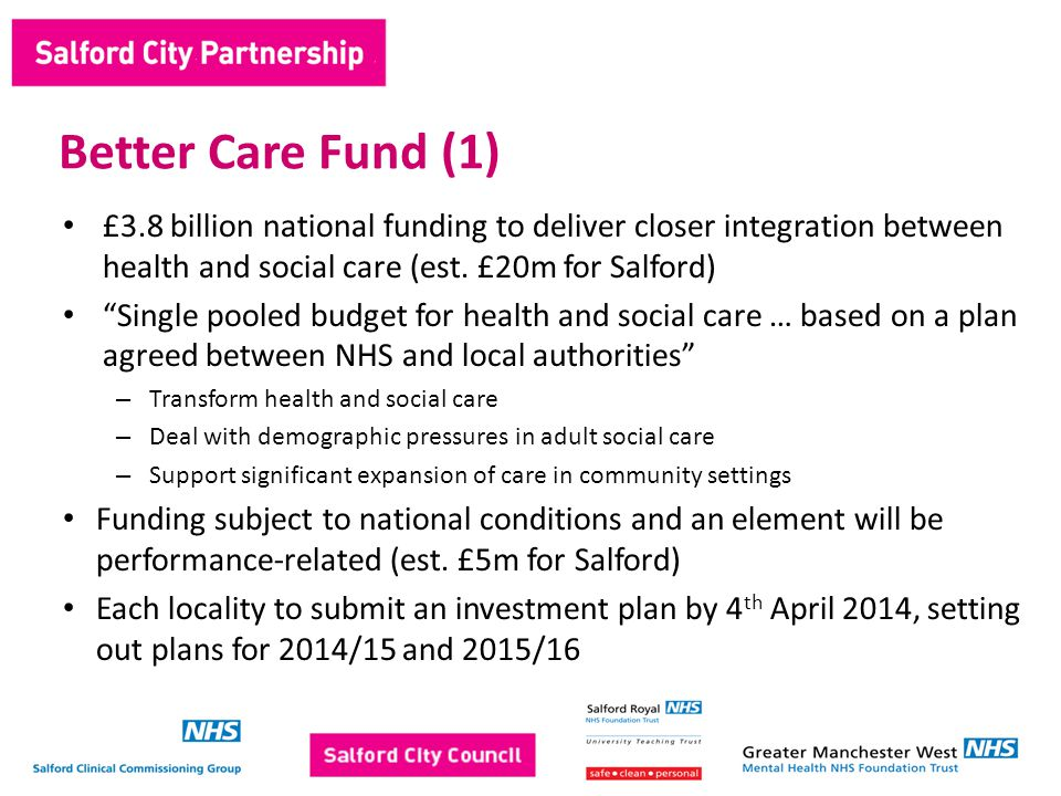 £3.8 billion national funding to deliver closer integration between health and social care (est.