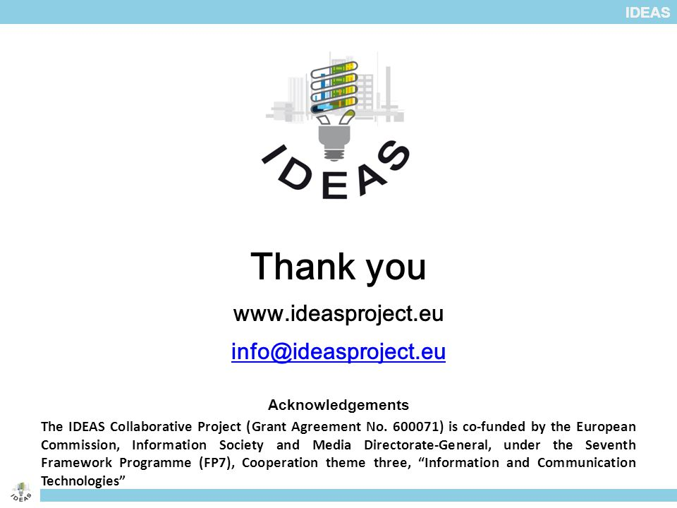 IDEAS Thank you www.ideasproject.eu info@ideasproject.eu Acknowledgements The IDEAS Collaborative Project (Grant Agreement No.