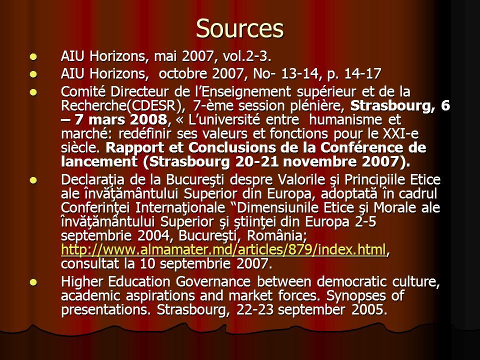 Sources AIU Horizons, mai 2007, vol.2-3. AIU Horizons, mai 2007, vol.2-3.