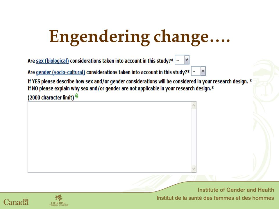 Engendering change….
