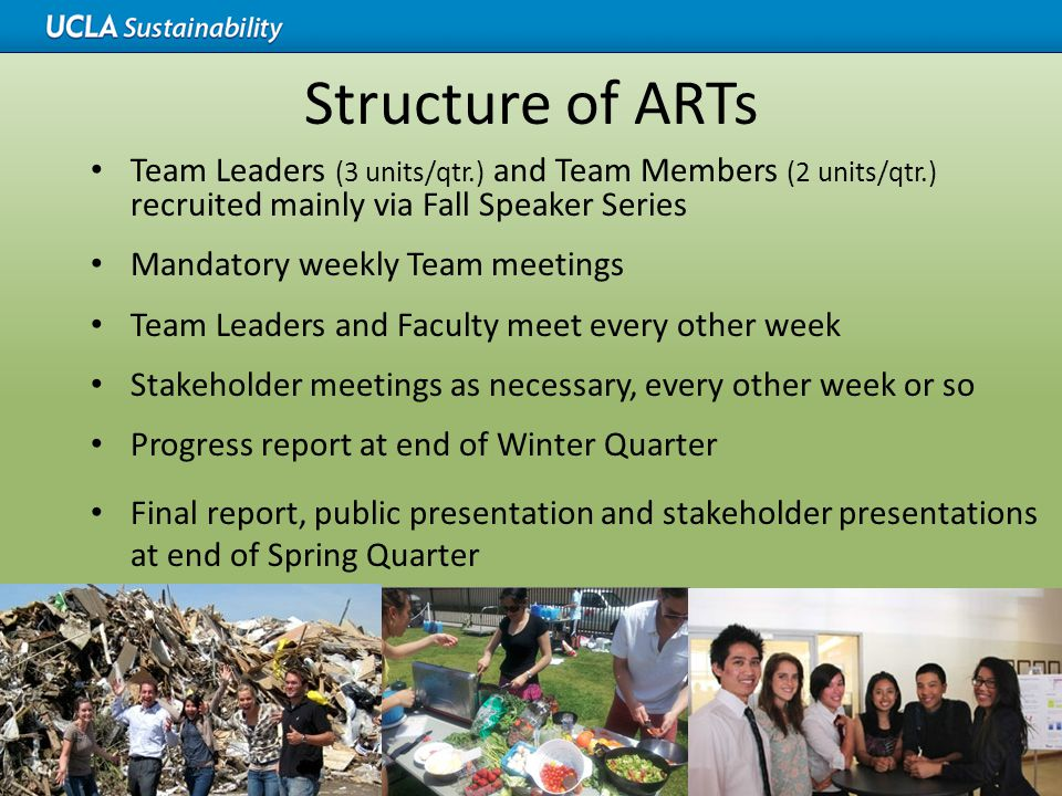 Structure of ARTs Team Leaders (3 units/qtr.) and Team Members (2 units/qtr.) recruited mainly via Fall Speaker Series Mandatory weekly Team meetings