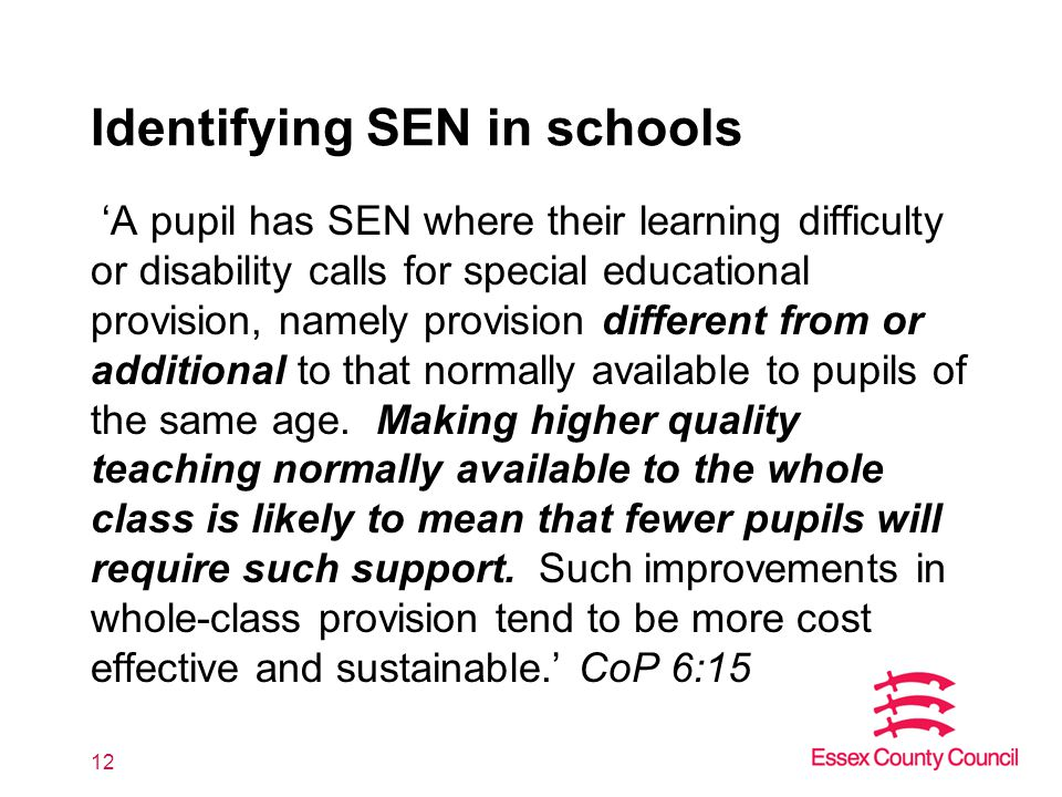 Identifying SEN in schools 'A pupil has SEN where their learning difficulty or disability calls for special educational provision, namely provision different from or additional to that normally available to pupils of the same age.