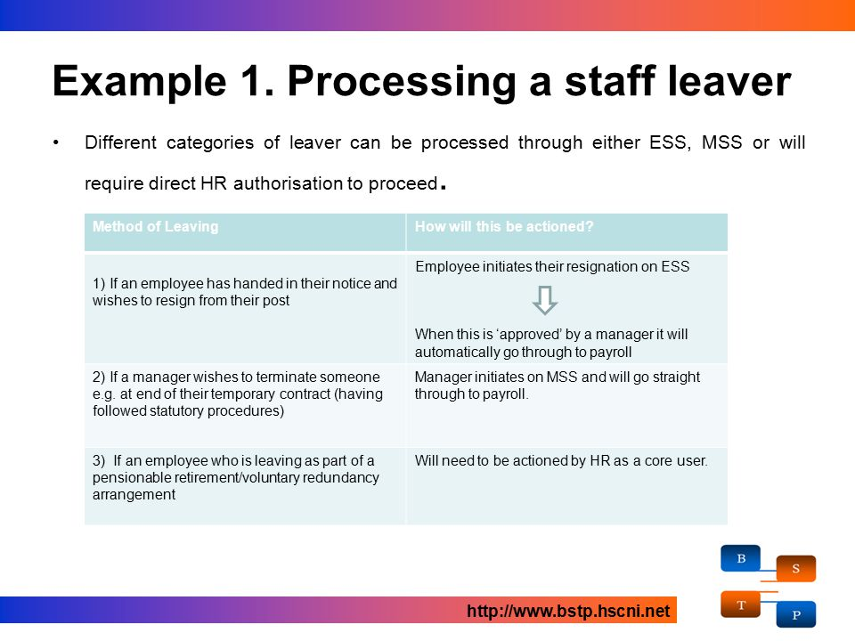 Different categories of leaver can be processed through either ESS, MSS or will require direct HR authorisation to proceed.