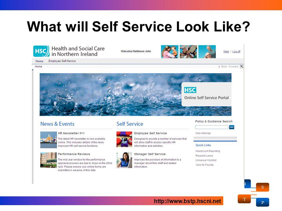 What will Self Service Look Like? http://www.bstp.hscni.net