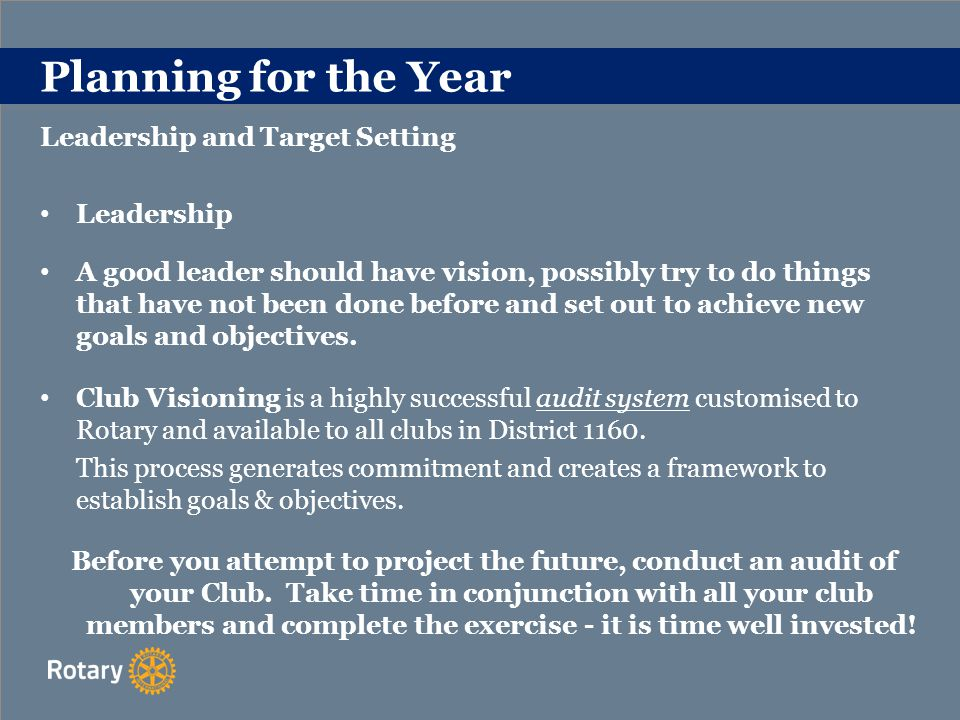 Planning for the Year Leadership and Target Setting Leadership A good leader should have vision, possibly try to do things that have not been done before and set out to achieve new goals and objectives.