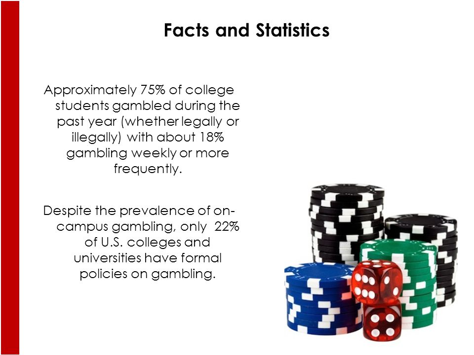 Approximately 75% of college students gambled during the past year (whether legally or illegally) with about 18% gambling weekly or more frequently.