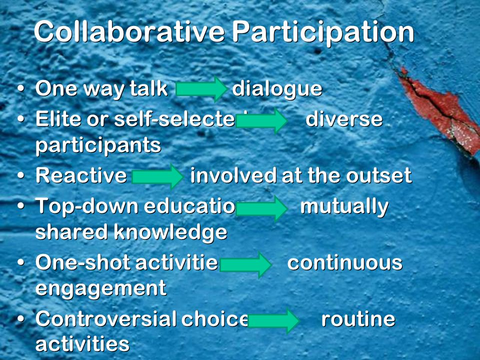 Collaborative Participation One way talk dialogue Elite or self-selected diverse participants Reactive involved at the outset Top-down education mutua