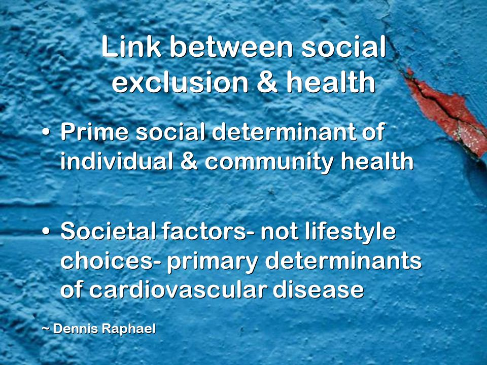 Link between social exclusion & health Prime social determinant of individual & community health Societal factors- not lifestyle choices- primary dete