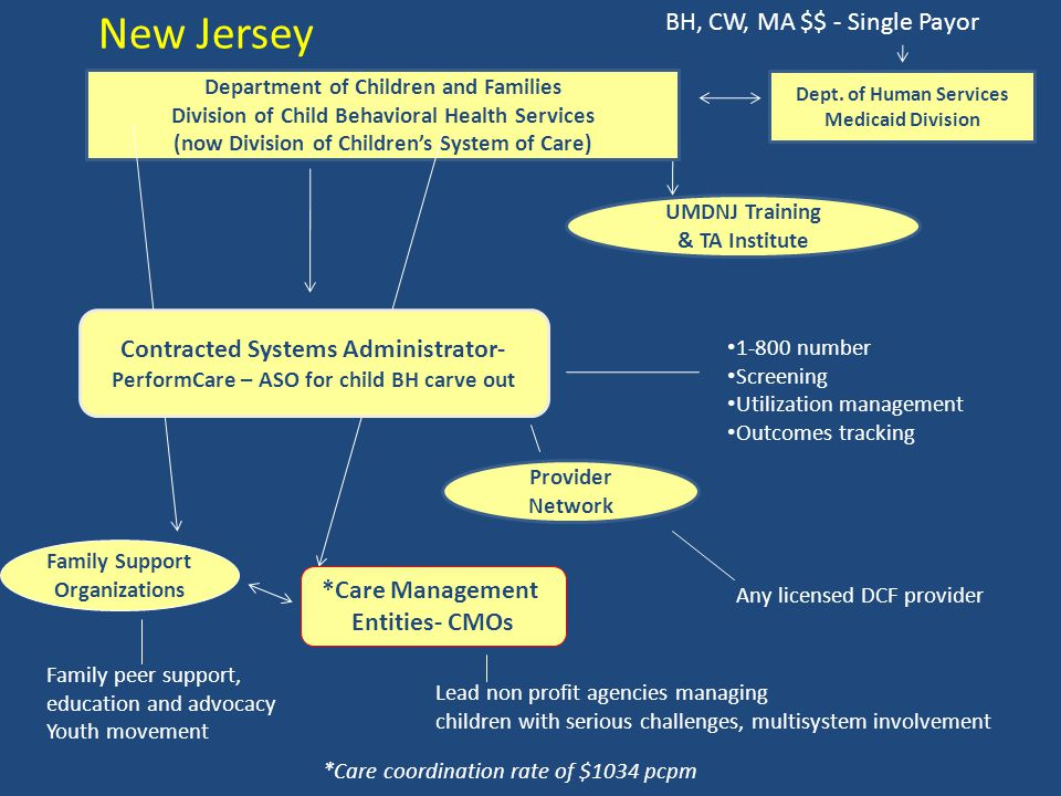 UMDNJ Training & TA Institute Department of Children and Families Division of Child Behavioral Health Services (now Division of Children's System of C
