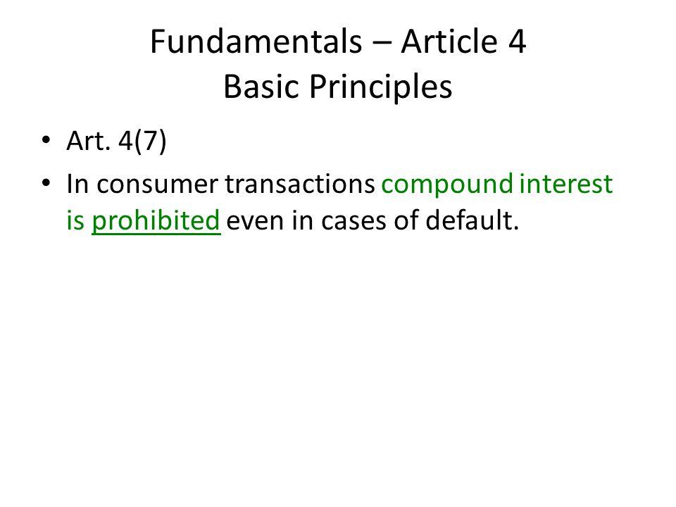Fundamentals – Article 4 Basic Principles Art.