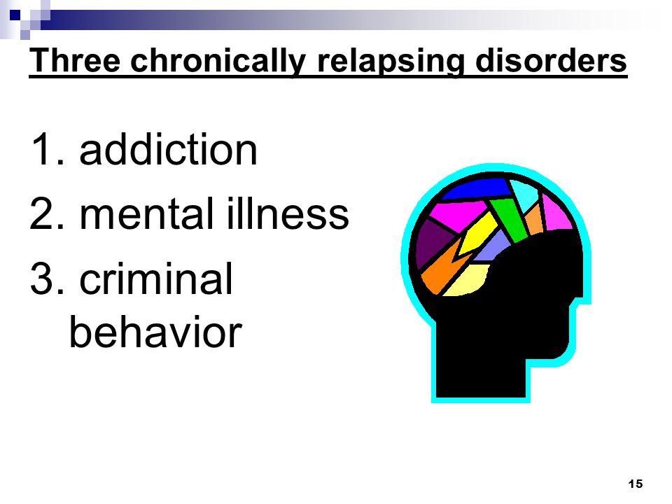 Three chronically relapsing disorders 1. addiction 2. mental illness 3. criminal behavior 15