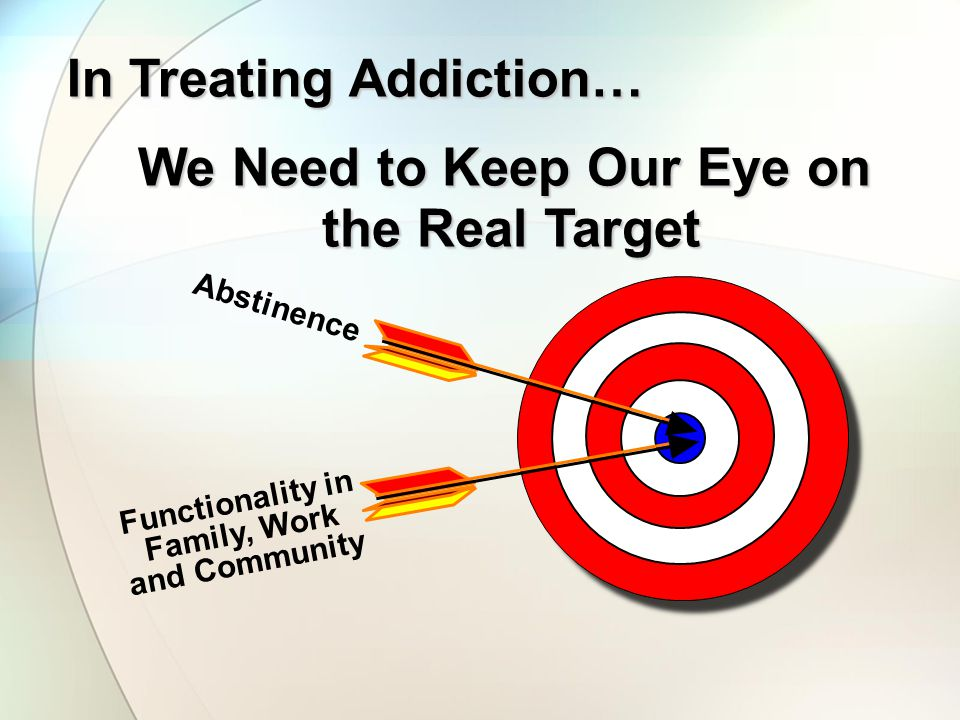 We Need to Keep Our Eye on the Real Target the Real Target Abstinence Functionality in Family, Work and Community In Treating Addiction…