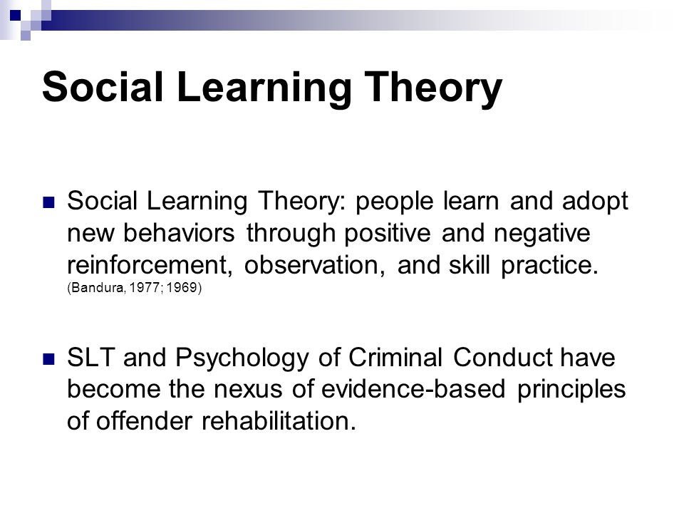 Social Learning Theory Social Learning Theory: people learn and adopt new behaviors through positive and negative reinforcement, observation, and skil