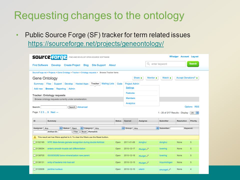 Requesting changes to the ontology Public Source Forge (SF) tracker for term related issues https://sourceforge.net/projects/geneontology/