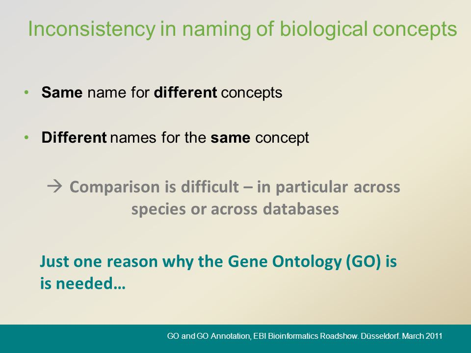 Inconsistency in naming of biological concepts Same name for different concepts Different names for the same concept  Comparison is difficult – in pa
