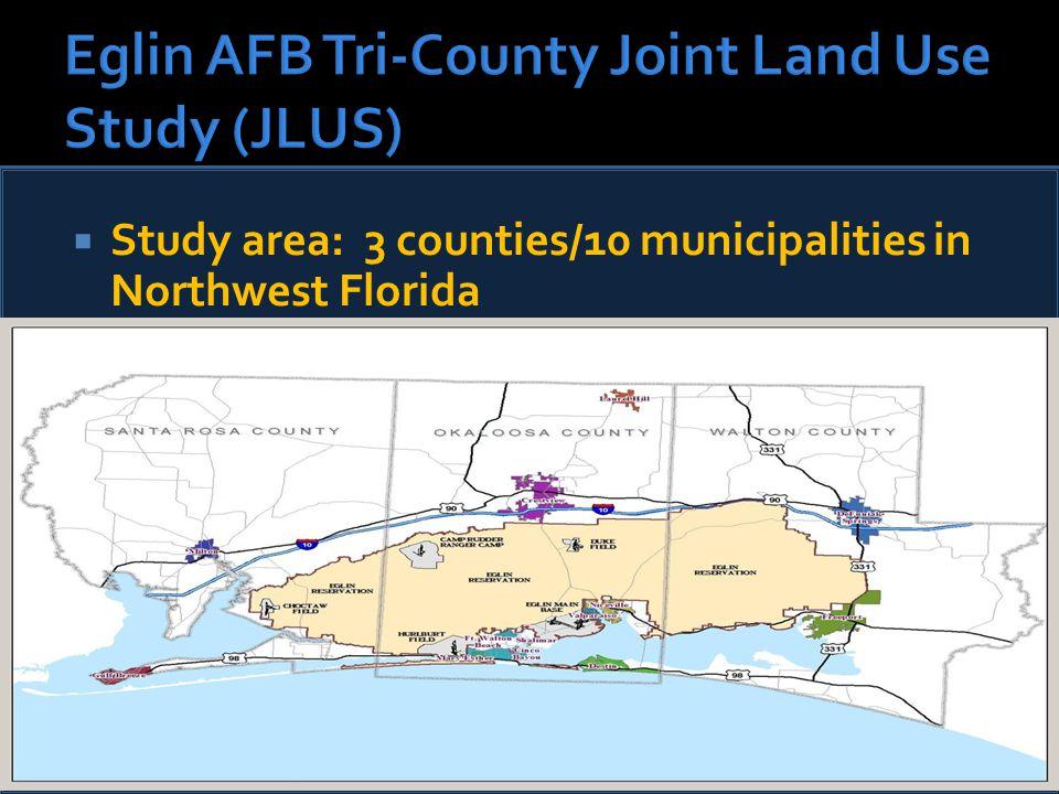  Study area: 3 counties/10 municipalities in Northwest Florida