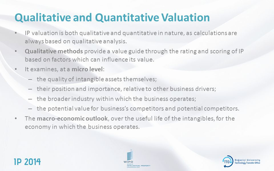 Qualitative and Quantitative Valuation IP valuation is both qualitative and quantitative in nature, as calculations are always based on qualitative analysis.