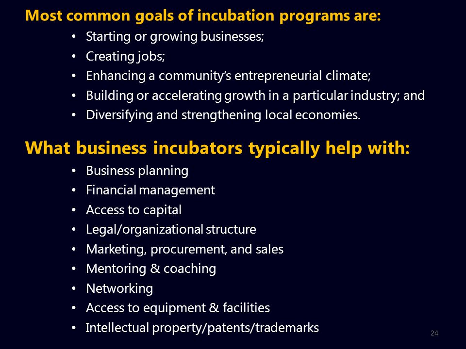24 Most common goals of incubation programs are: Starting or growing businesses; Creating jobs; Enhancing a community's entrepreneurial climate; Building or accelerating growth in a particular industry; and Diversifying and strengthening local economies.