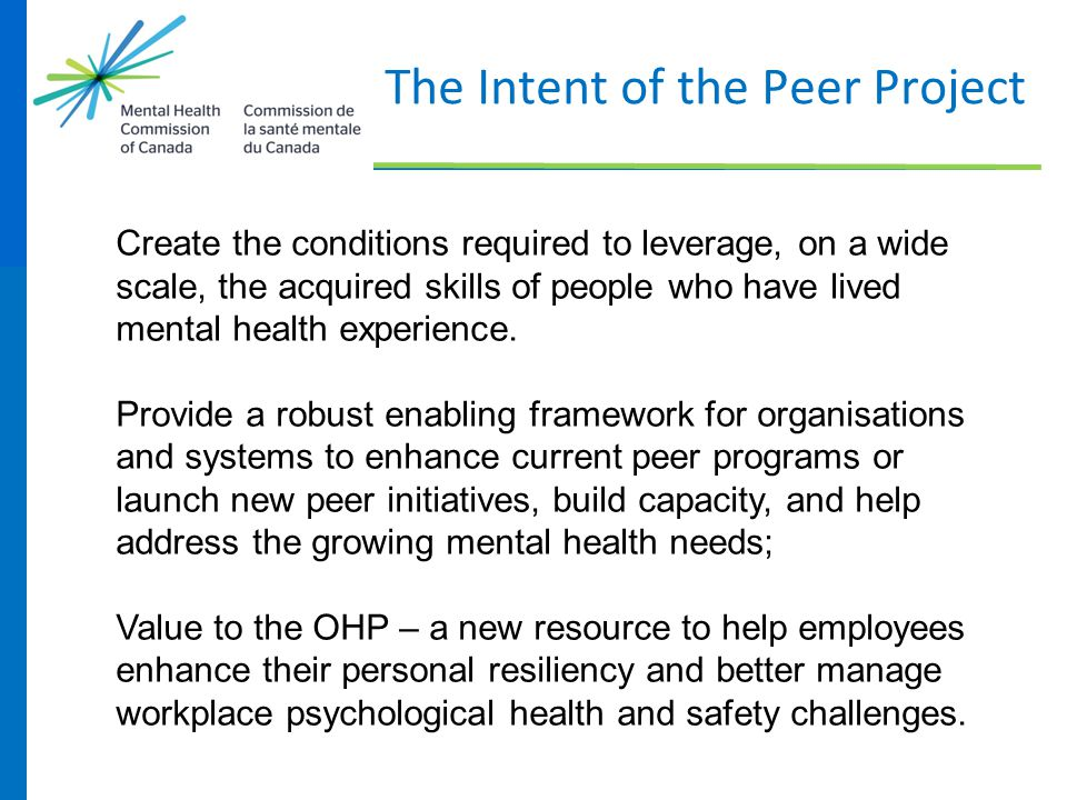 The Intent of the Peer Project Create the conditions required to leverage, on a wide scale, the acquired skills of people who have lived mental health