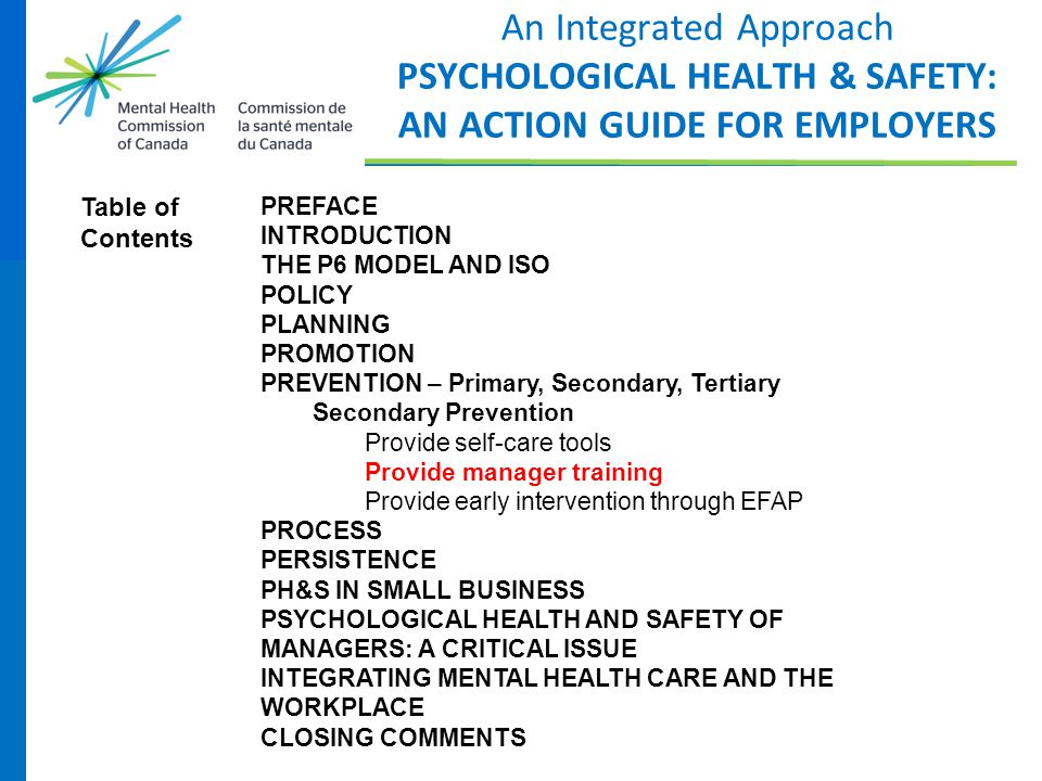 An Integrated Approach PSYCHOLOGICAL HEALTH & SAFETY: AN ACTION GUIDE FOR EMPLOYERS PREFACE INTRODUCTION THE P6 MODEL AND ISO POLICY PLANNING PROMOTIO