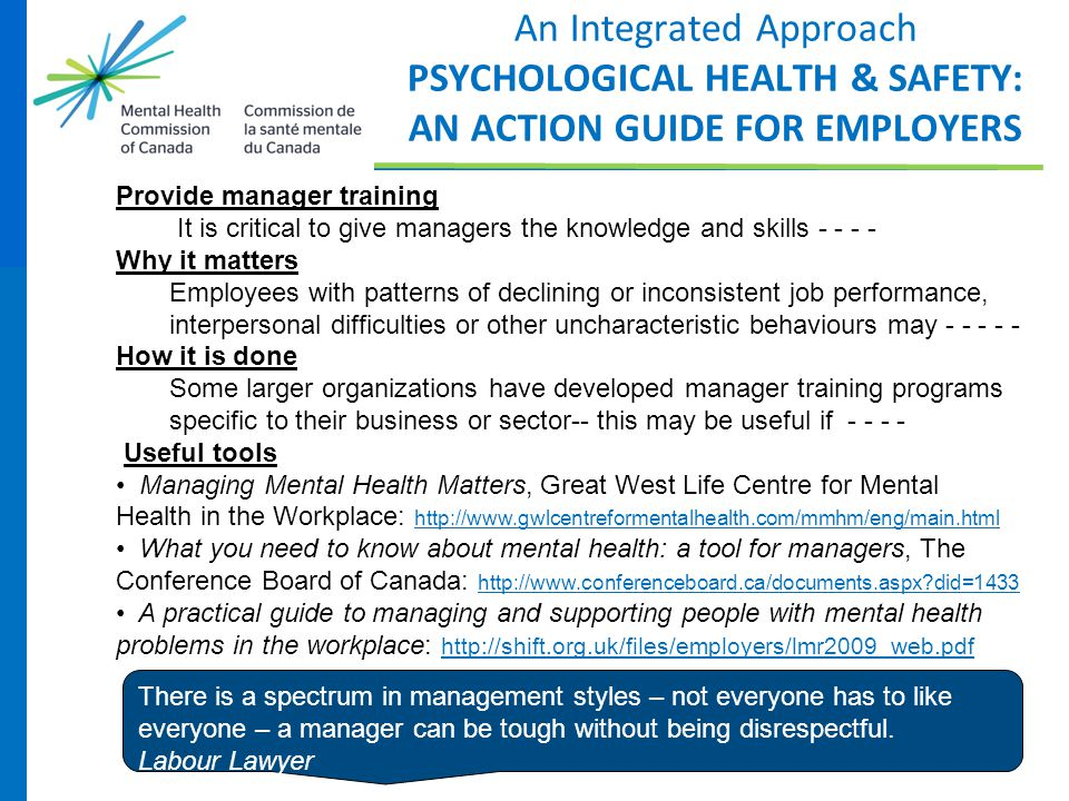 An Integrated Approach PSYCHOLOGICAL HEALTH & SAFETY: AN ACTION GUIDE FOR EMPLOYERS Provide manager training It is critical to give managers the knowl