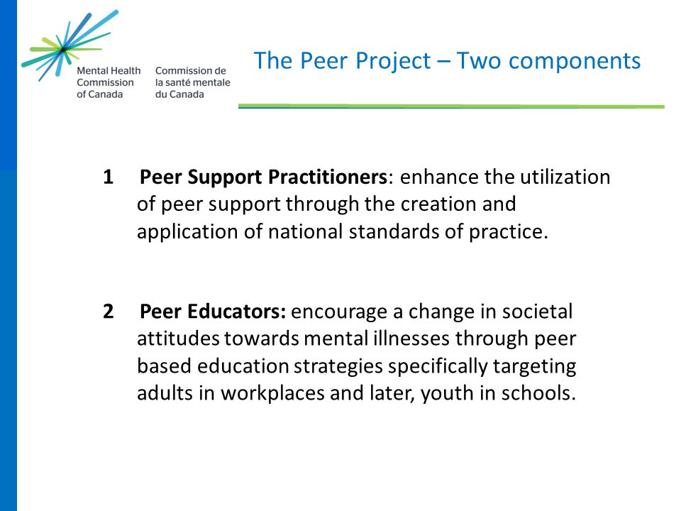 The Peer Project – Two components 1 Peer Support Practitioners: enhance the utilization of peer support through the creation and application of nation