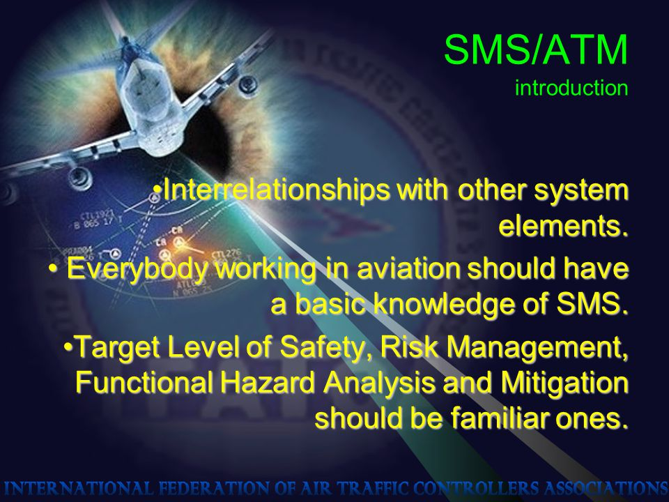 SMS/ATM introduction Interrelationships with other system elements.Interrelationships with other system elements. Everybody working in aviation should