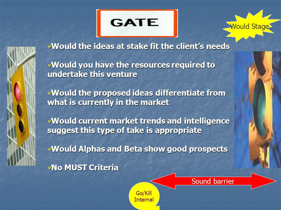 Gate 1 Would the ideas at stake fit the client's needs Would the ideas at stake fit the client's needs Would you have the resources required to undertake this venture Would you have the resources required to undertake this venture Would the proposed ideas differentiate from what is currently in the market Would the proposed ideas differentiate from what is currently in the market Would current market trends and intelligence suggest this type of take is appropriate Would current market trends and intelligence suggest this type of take is appropriate Would Alphas and Beta show good prospects Would Alphas and Beta show good prospects No MUST Criteria No MUST Criteria Sound barrier Go/Kill Internal Would Stage