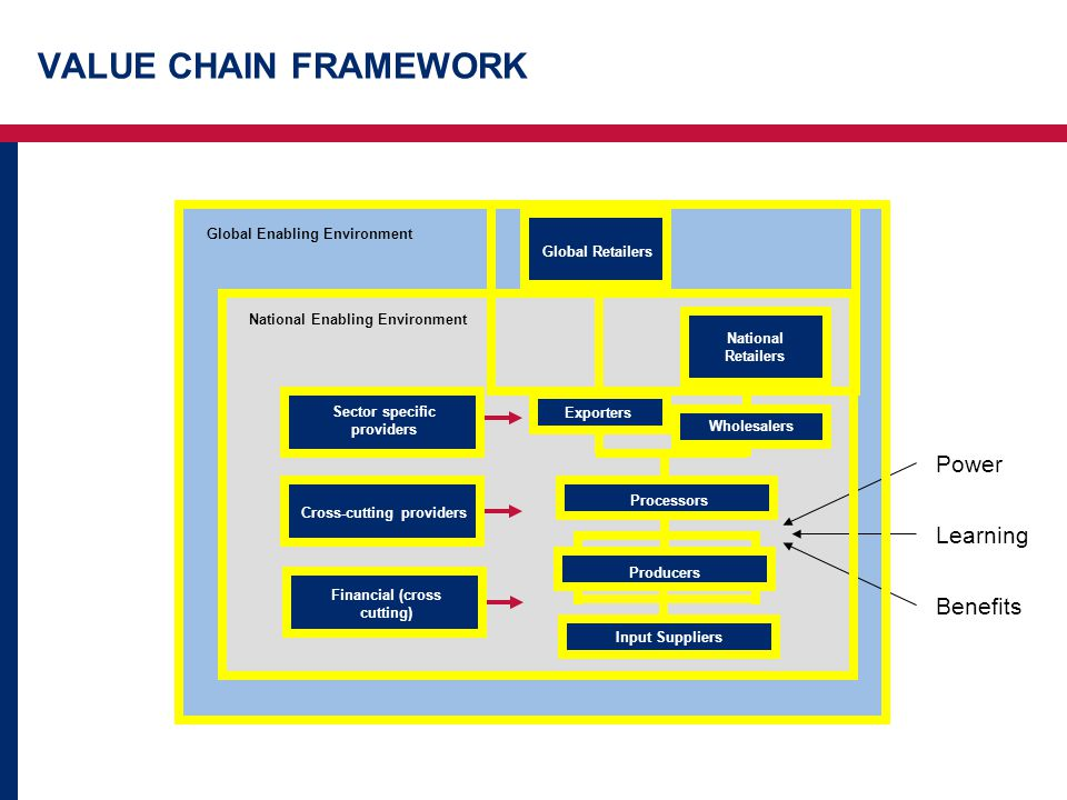 VALUE CHAIN FRAMEWORK Global Enabling Environment National Enabling Environment Financial (cross cutting) Input Suppliers Sector specific providers Cross-cutting providers Producers Wholesalers Exporters National Retailers Processors Global Retailers Power Learning Benefits
