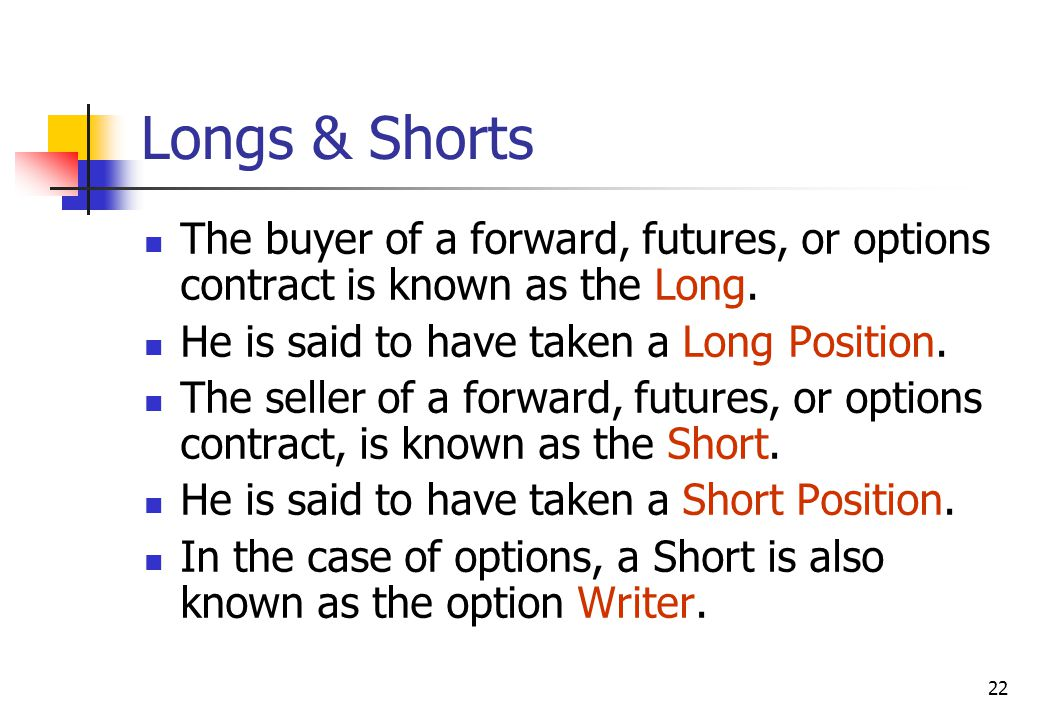 22 Longs & Shorts The buyer of a forward, futures, or options contract is known as the Long.
