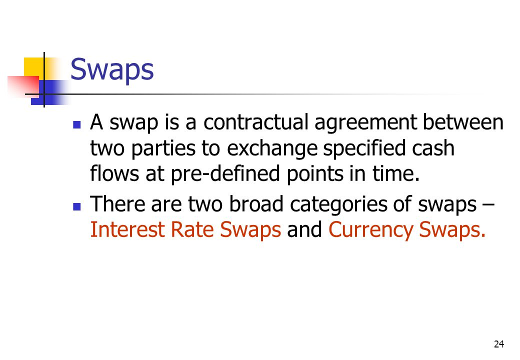 24 Swaps A swap is a contractual agreement between two parties to exchange specified cash flows at pre-defined points in time.