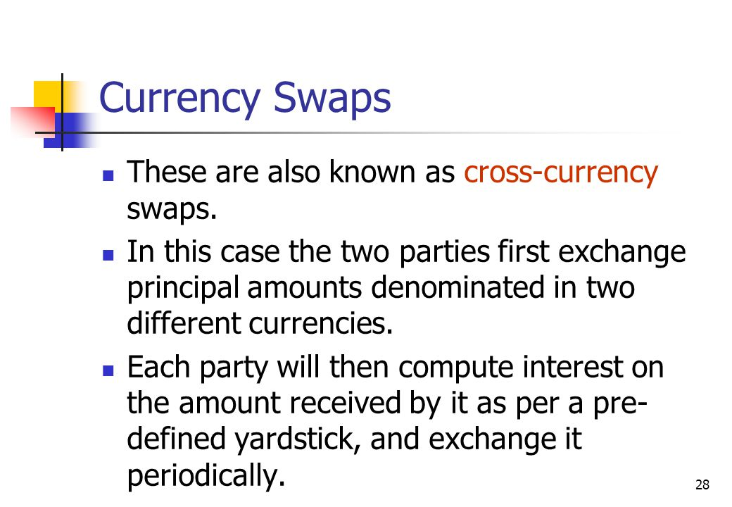 28 Currency Swaps These are also known as cross-currency swaps.