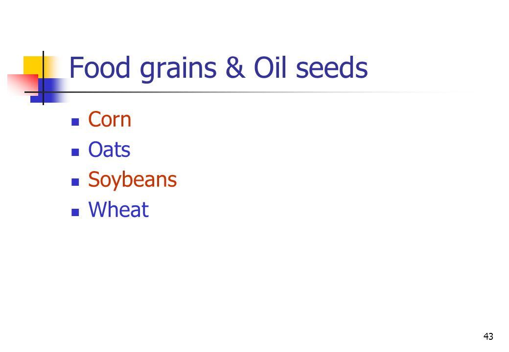 43 Food grains & Oil seeds Corn Oats Soybeans Wheat