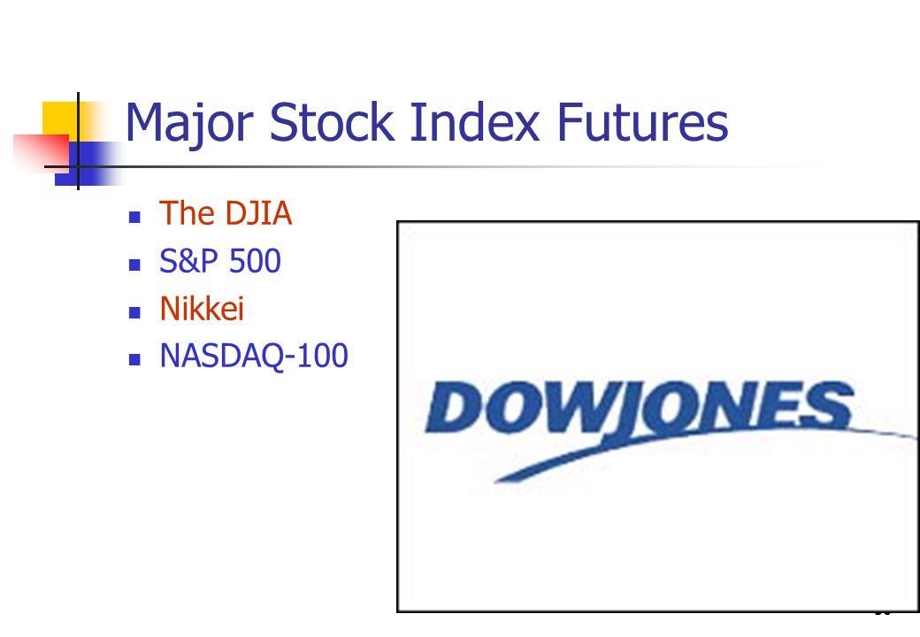50 Major Stock Index Futures The DJIA S&P 500 Nikkei NASDAQ-100
