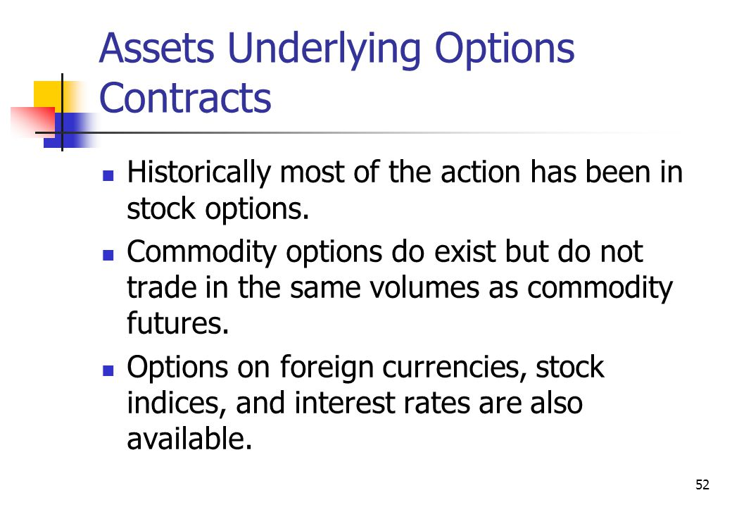 52 Assets Underlying Options Contracts Historically most of the action has been in stock options.