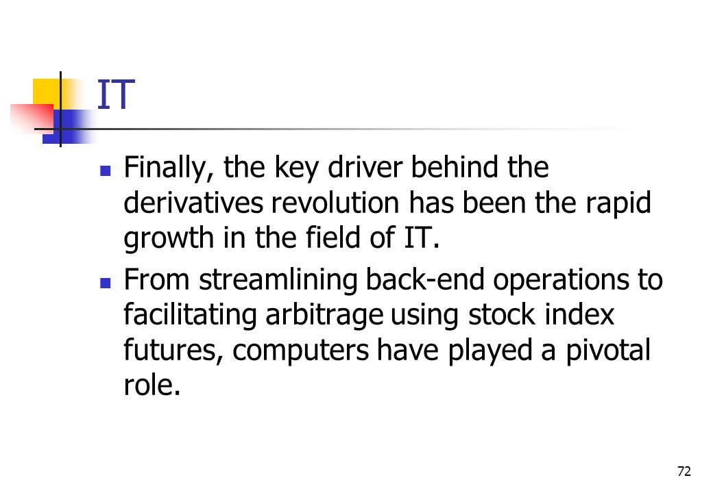 72 IT Finally, the key driver behind the derivatives revolution has been the rapid growth in the field of IT.