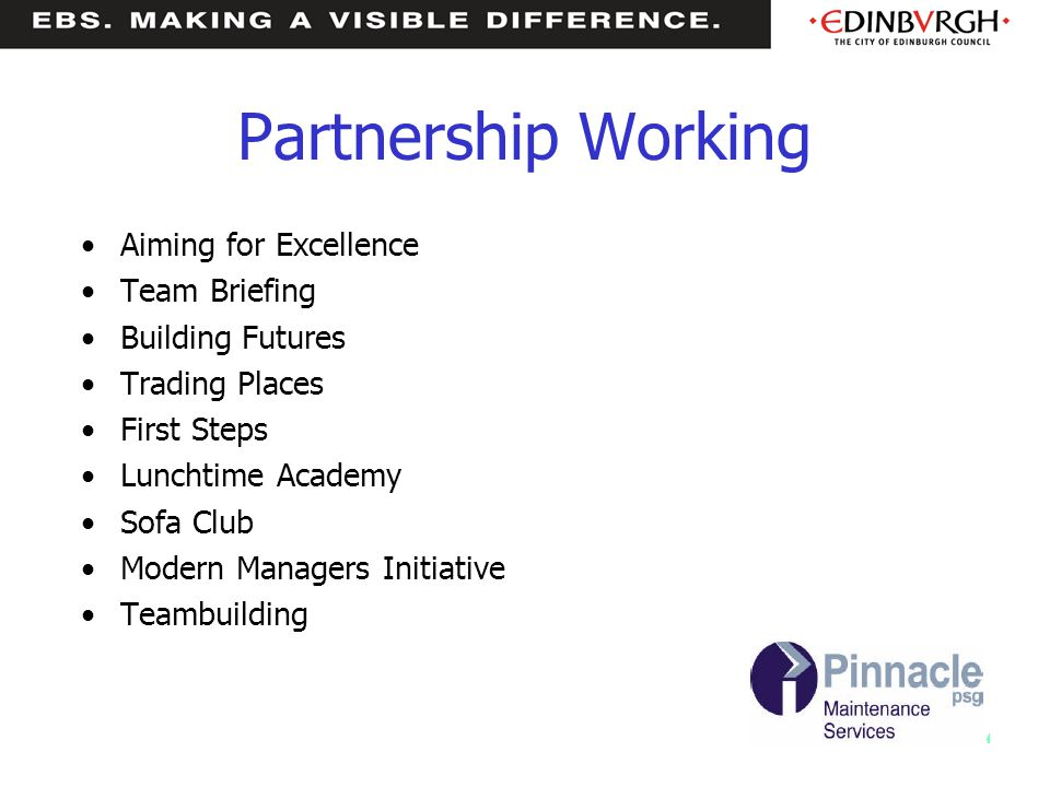 Partnership Working Aiming for Excellence Team Briefing Building Futures Trading Places First Steps Lunchtime Academy Sofa Club Modern Managers Initiative Teambuilding