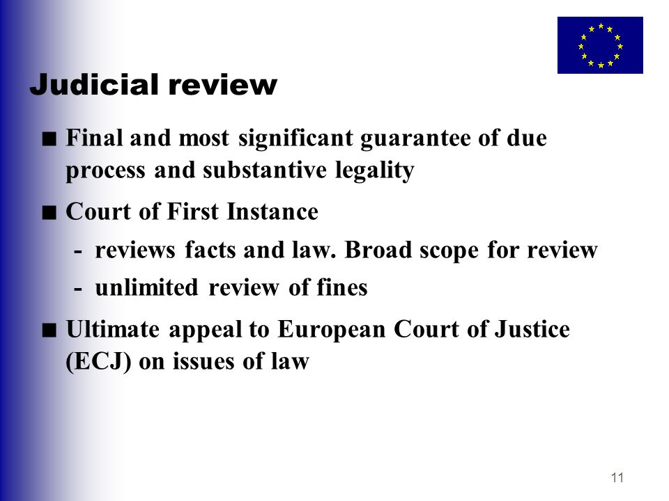 11 Judicial review ■ Final and most significant guarantee of due process and substantive legality ■ Court of First Instance -reviews facts and law. Br