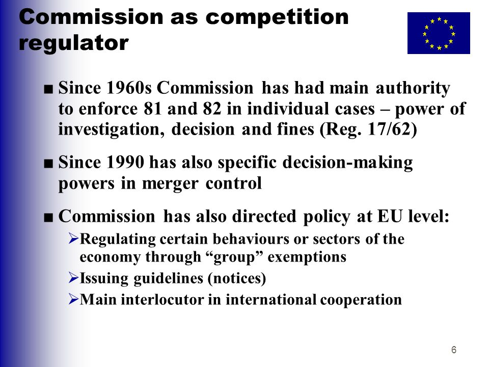 7 Modernisation of antitrust ■In 1999 Commission launched major policy debate on reshaping regulation of antitrust within EU.