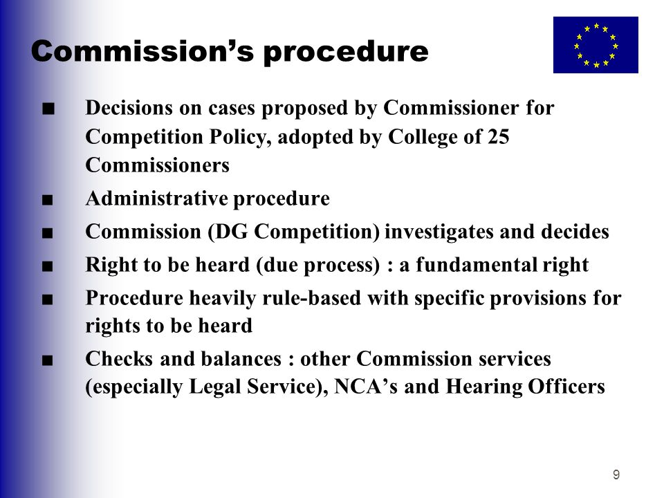 10 Role of Hearing Officer ■Specific function of the Hearing Officer : guarantee due process by Commission ■Independent of DG COMP and reports directly to the Commissioner for Competition policy ■Organises and conducts oral hearings ■Decides certain areas of dispute, eg access to documents on the Commission's file, confidentiality ■Can make observations to the Commissioner on any aspect of the case at any stage ■Provides final report on due process to the College before decision adopted (report published)
