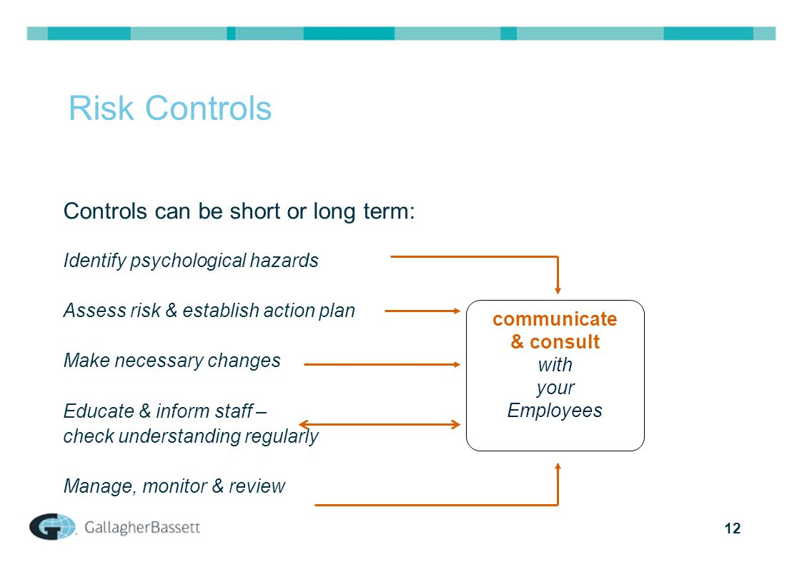12 Risk Controls Controls can be short or long term: Identify psychological hazards Assess risk & establish action plan Make necessary changes Educate