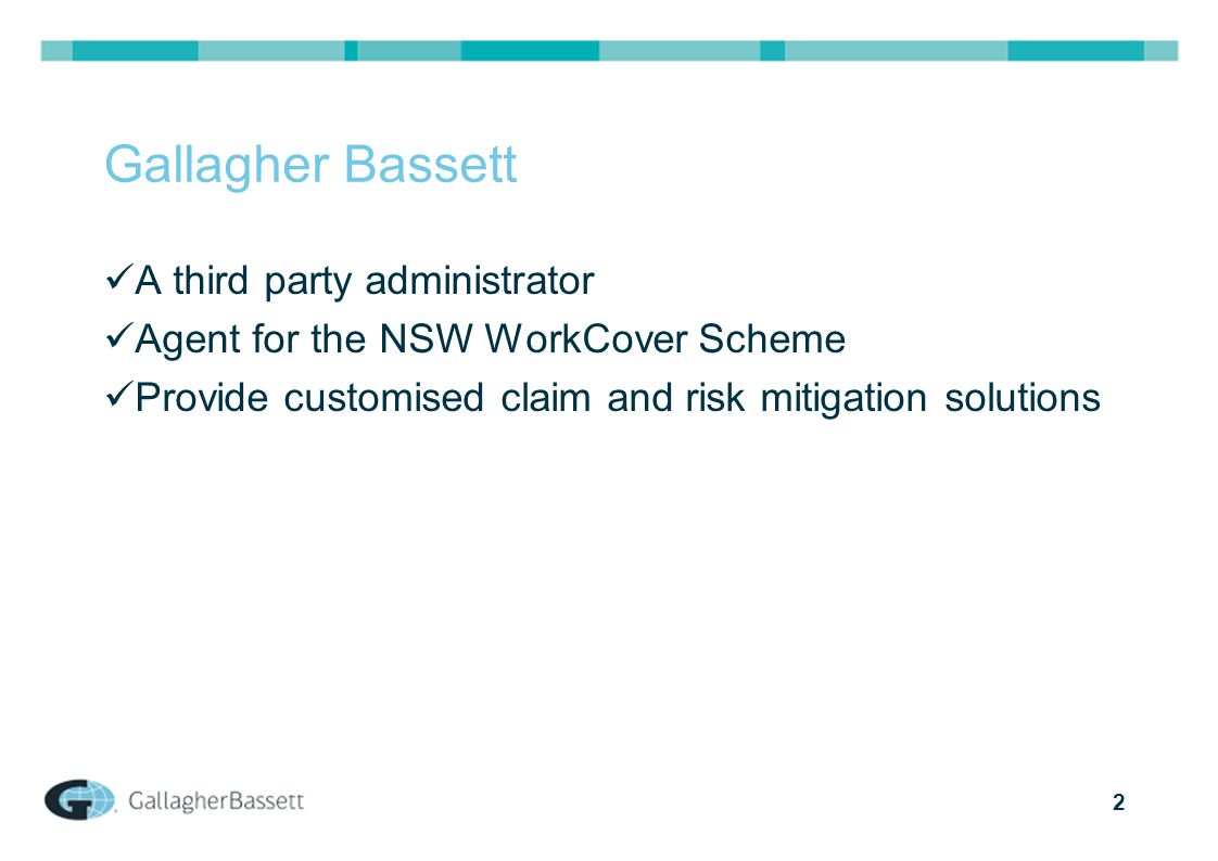 2 Gallagher Bassett A third party administrator Agent for the NSW WorkCover Scheme Provide customised claim and risk mitigation solutions