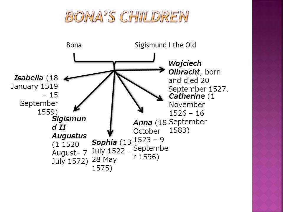 Bona Sigismund I the Old Isabella (18 January 1519 – 15 September 1559) Sigismun d II Augustus (1 1520 August– 7 July 1572) Sophia (13 July 1522 – 28 May 1575) Anna (18 October 1523 – 9 Septembe r 1596) Catherine (1 November 1526 – 16 September 1583) Wojciech Olbracht, born and died 20 September 1527.