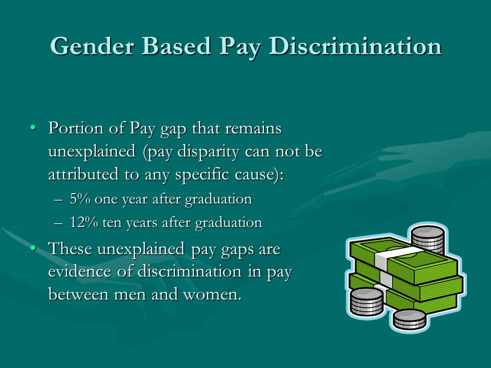 Gender Based Pay Discrimination Portion of Pay gap that remains unexplained (pay disparity can not be attributed to any specific cause):Portion of Pay gap that remains unexplained (pay disparity can not be attributed to any specific cause): –5% one year after graduation –12% ten years after graduation These unexplained pay gaps are evidence of discrimination in pay between men and women.These unexplained pay gaps are evidence of discrimination in pay between men and women.