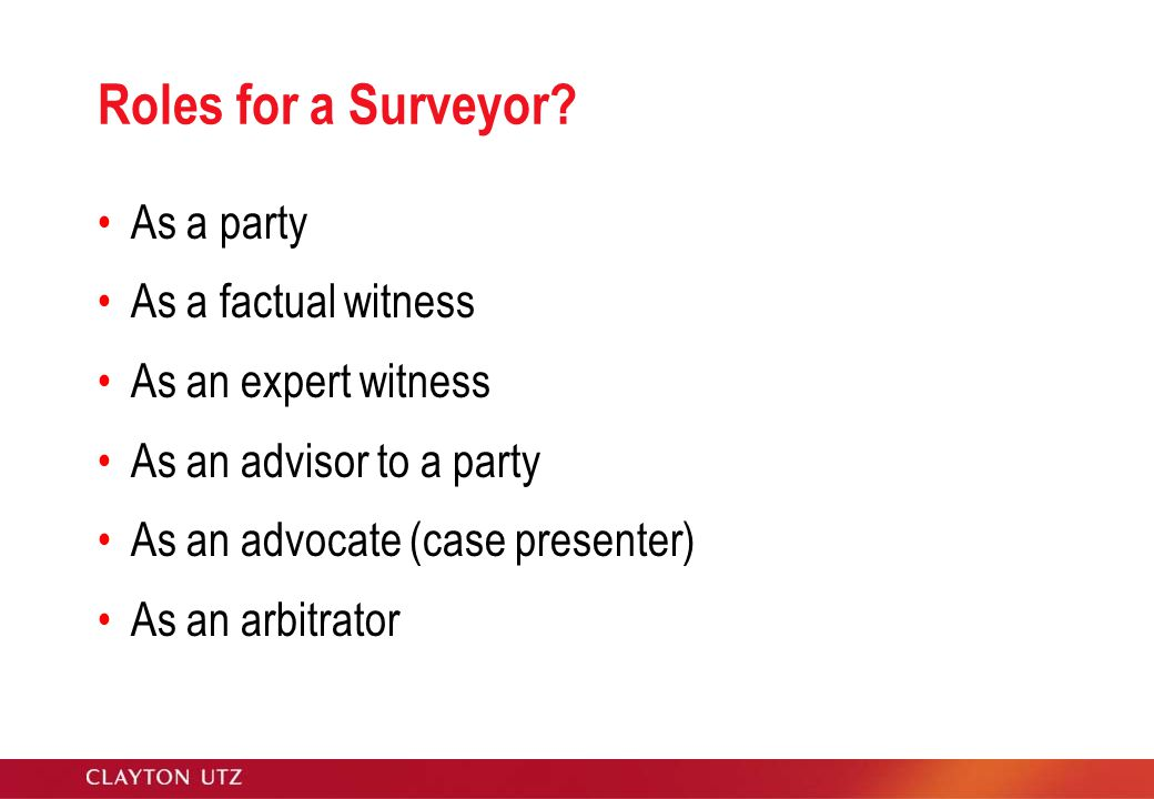 Roles for a Surveyor.