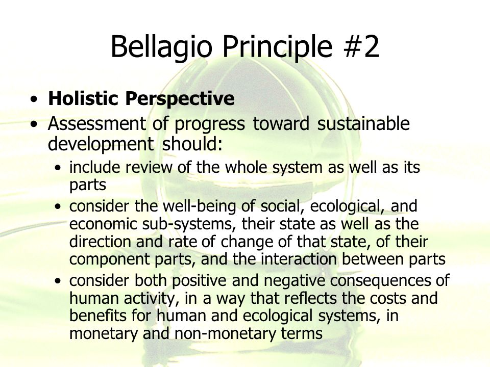 Bellagio Principle #2 Holistic Perspective Assessment of progress toward sustainable development should: include review of the whole system as well as